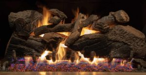 Gas fireplace with realistic logs